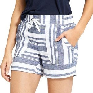 Athleta 100% Linen Navy & White Striped Shorts